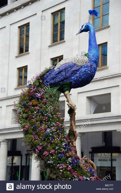 Floral peacock sculpture by Preston Bailey in Covent