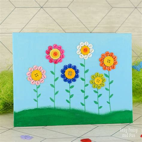 Button Flowers Canvas | Flower canvas, Canvas crafts and