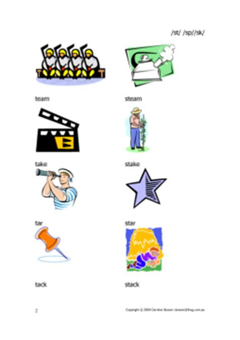 st sp sk - words with pictures - beginnings of words | Commtap