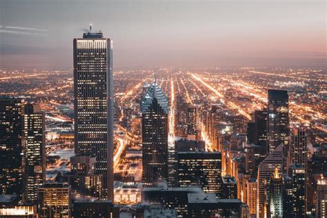Picture of Chicago City Lights At Night - Free Stock Photo