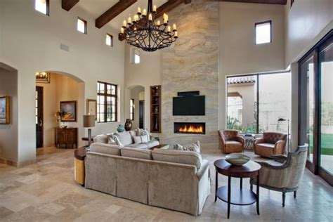 Mediterranean Great Room With Vaulted Exposed Beam Ceiling