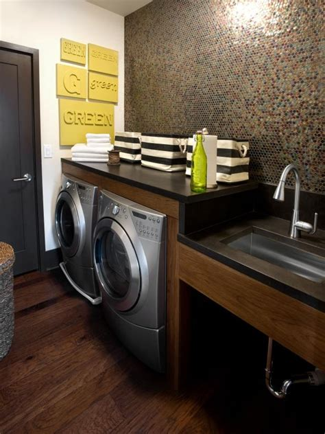 Contemporary Laundry Room With Penny Mosaic Tile | HGTV