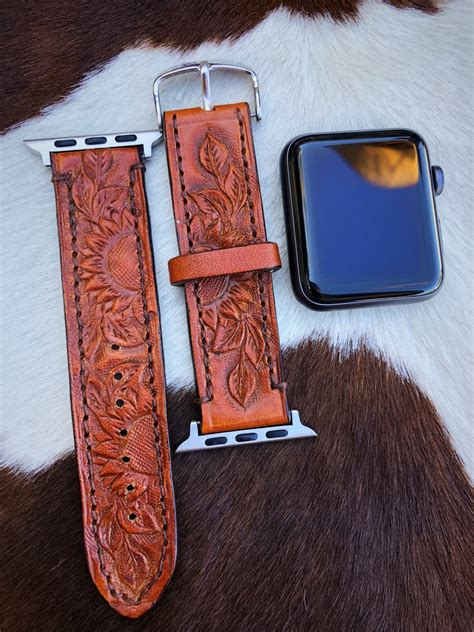 """Sunflower """" Tooled Leather Apple watch Band ( Camel"""