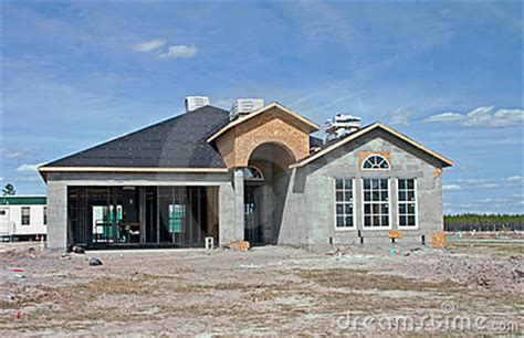 New Concrete Block Home Construction Royalty Free Stock
