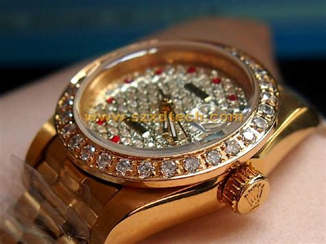 Replica Rolex Watch with diamond Golden Watch Woman and