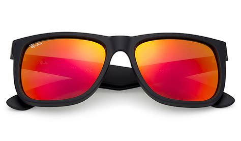 Ray-Ban RB4165 Justin Sunglasses - Black Rubber / Red