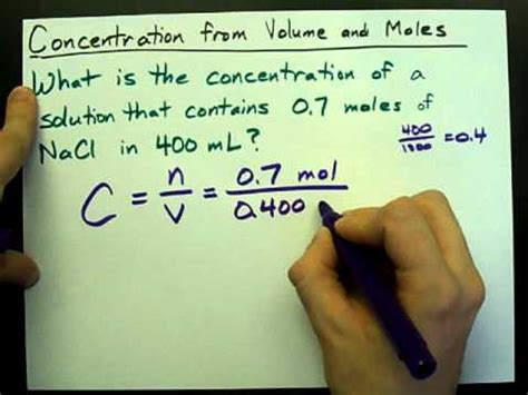 How to Calculate Concentration (from Volume and Moles