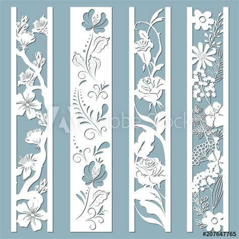 Die and laser cut ornamental panels with floral pattern