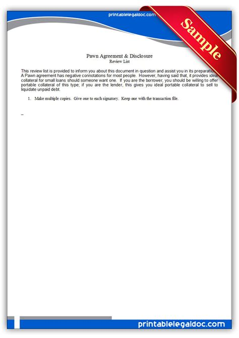 Free Printable Pawn Agreement & Disclosure Form (GENERIC)