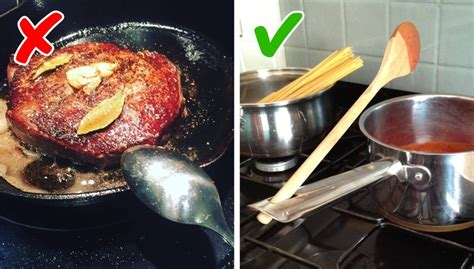 Placing the spoon when cooking