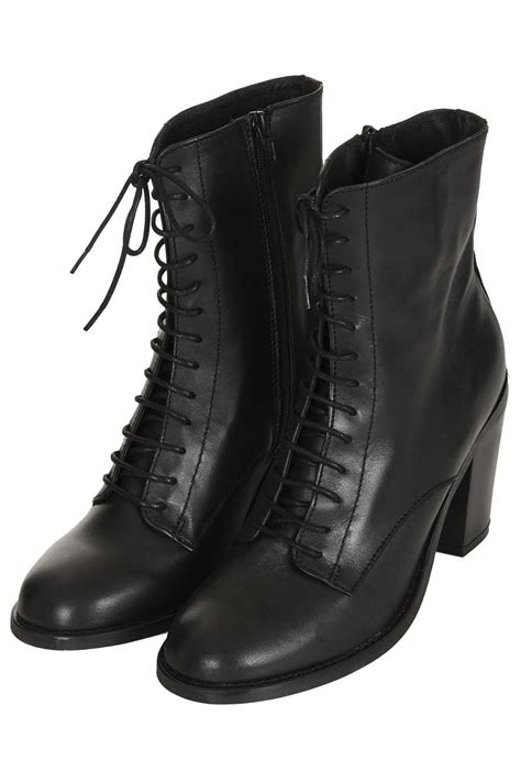 Lyst - Topshop Abra Lace Up Witch Boots in Black