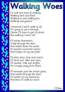 Free Literacy Synonyms for Walked Words and Poem